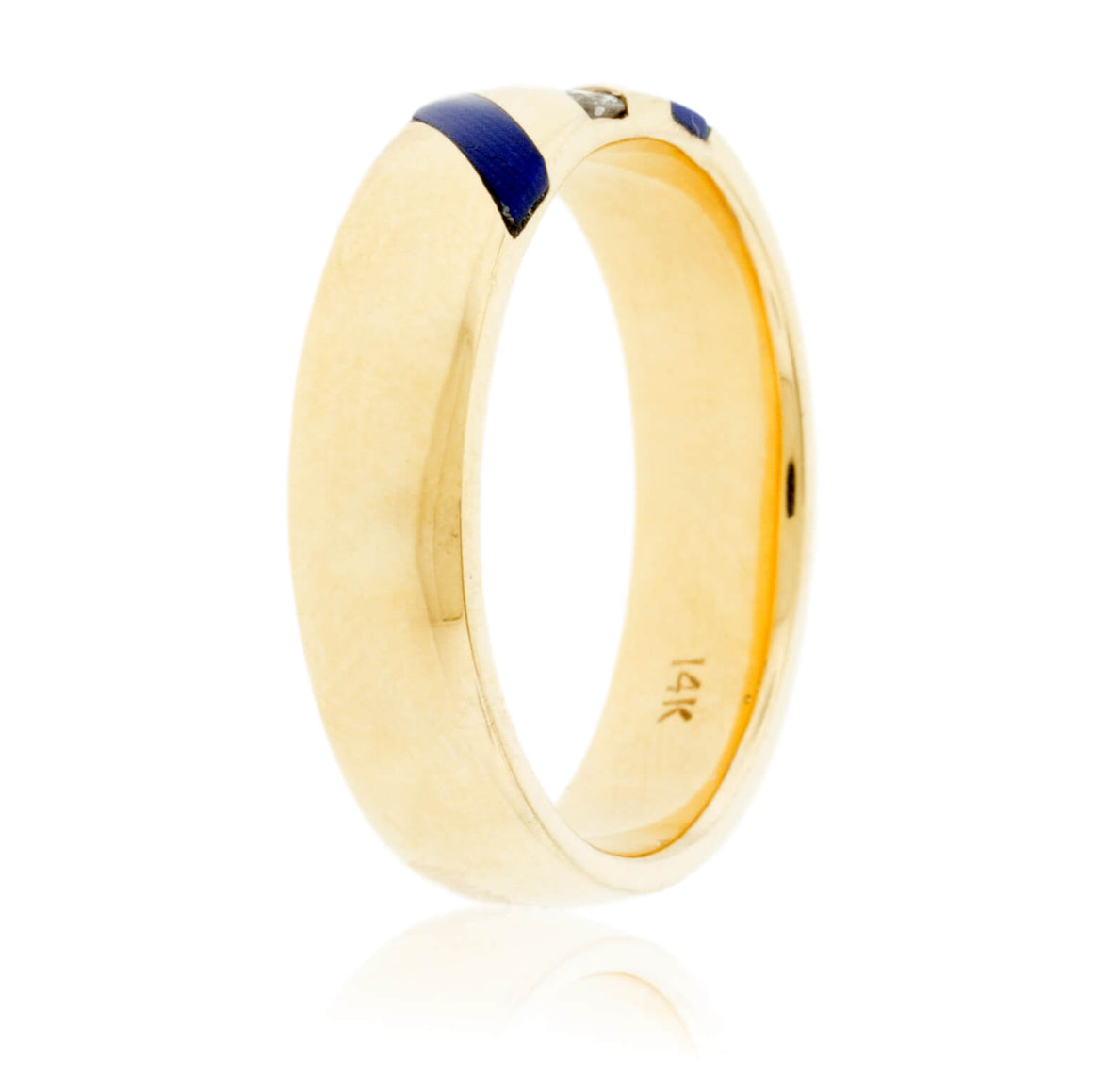 Lapis Strip and Channel Set Diamond Ring