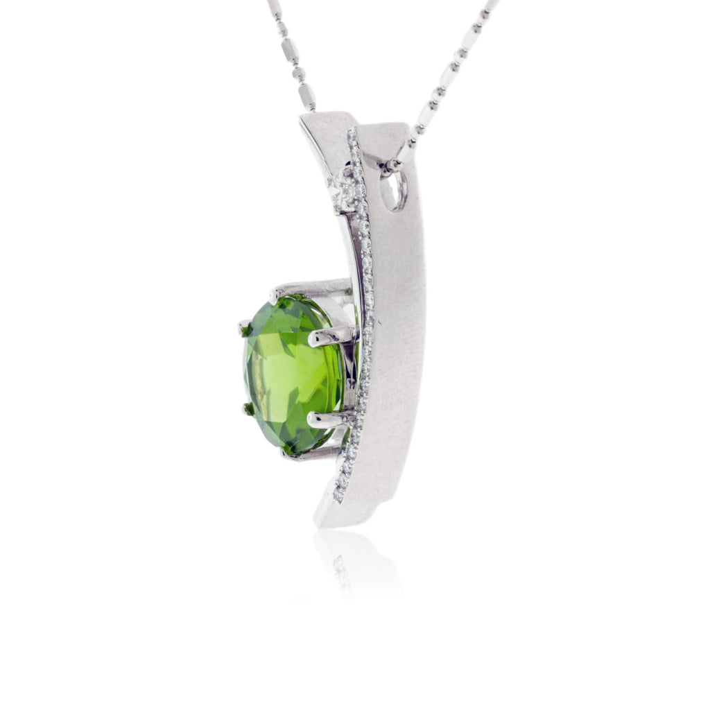 Peridot and Diamond One of a Kind Pendant