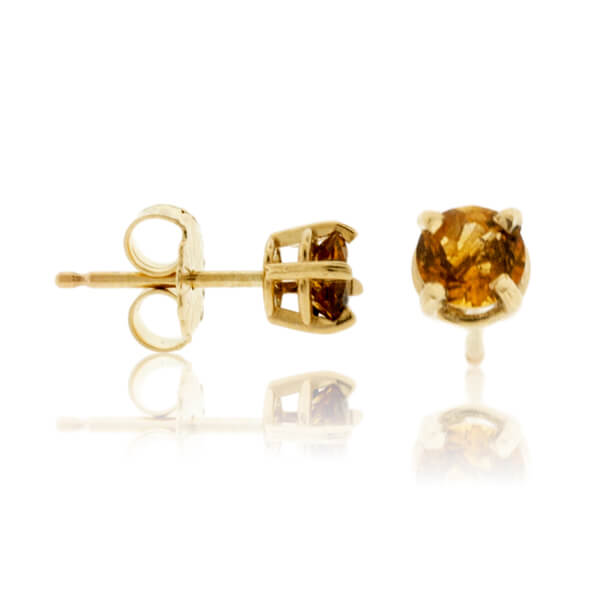 4mm Round Citrine Basket Style Stud Earrings