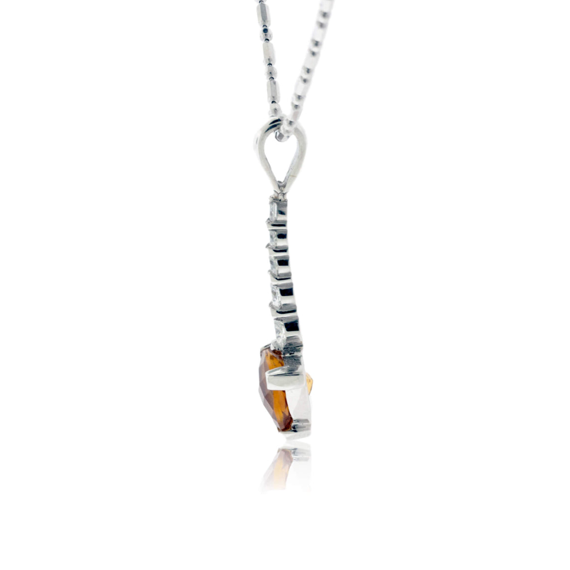 Trillion Citrine and Diamond Pendant
