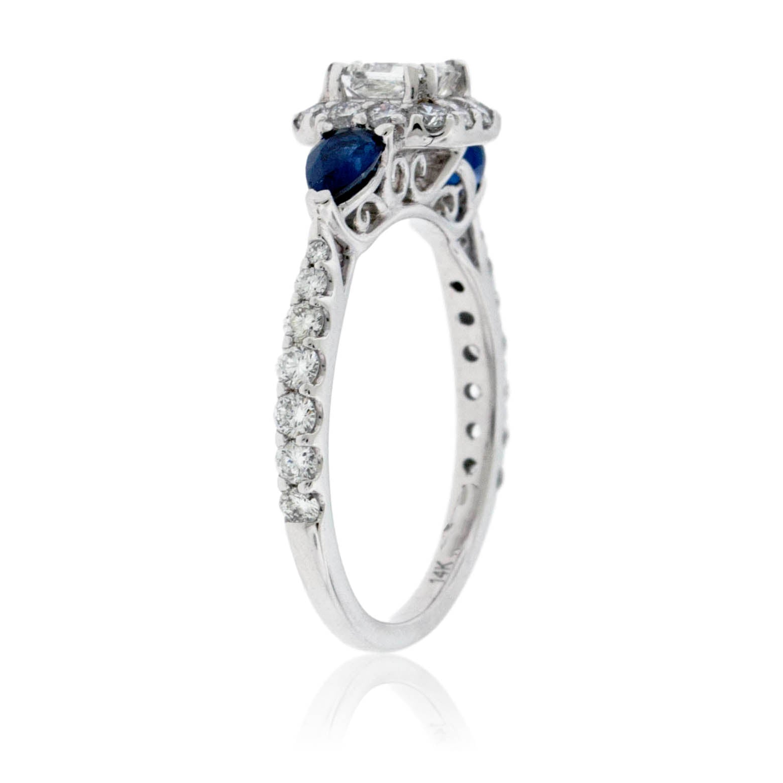 Diamond Engagement Wedding Ring With Sapphire Accents Park City Jewelers