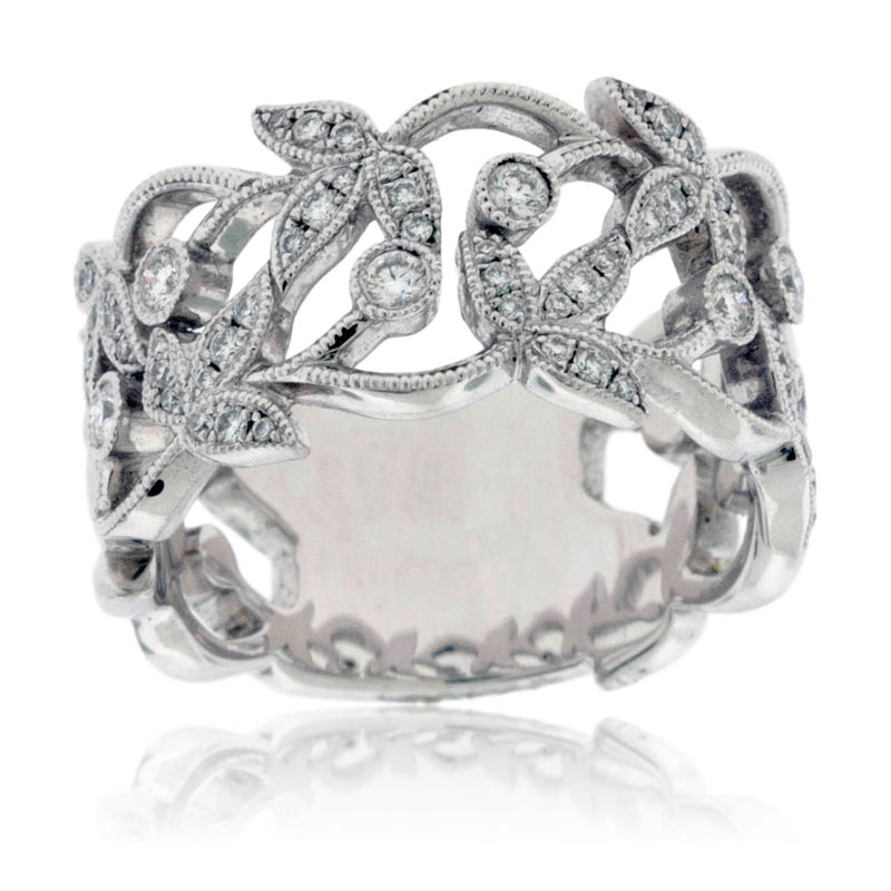 Leaf and Vine Diamond Ring
