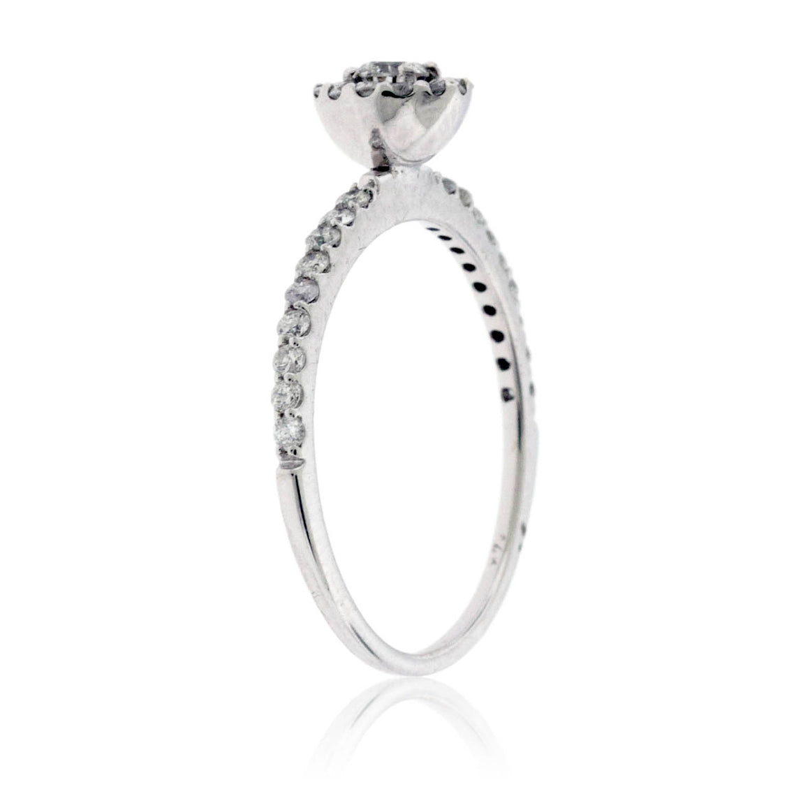 Petite Round Diamond with Diamond Halo Engagement Ring
