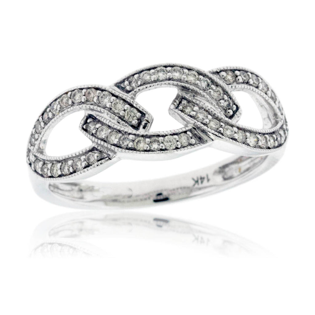 Interlocking Diamond Forget Me Knot Ring in White Gold