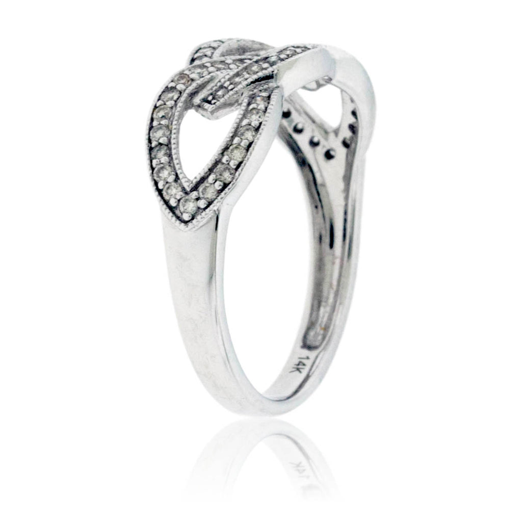 Side View of Interlocking Diamond Forget Me Knot Ring in White Gold