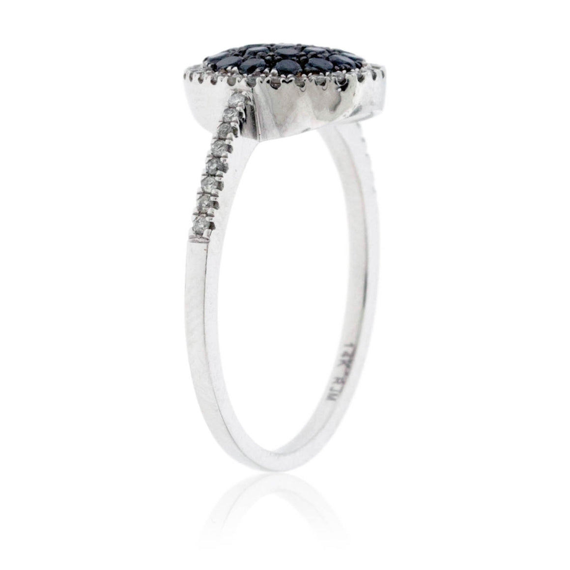 Black Diamond Cluster Centered Diamond Halo Ring