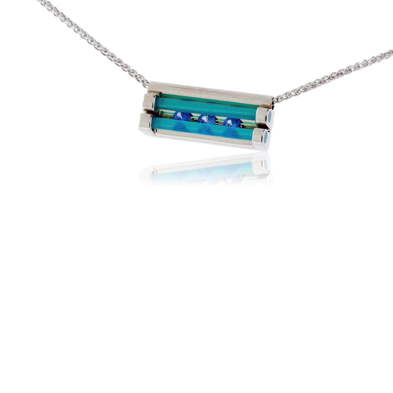 White Gold with Sapphire and Glacier Blue Onyx Pendant