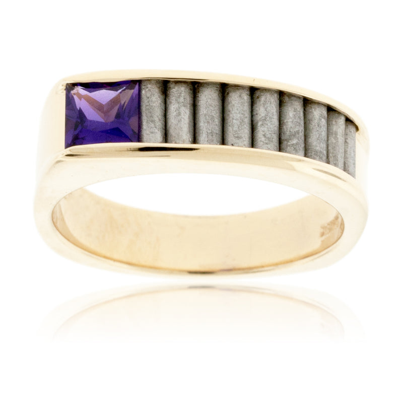 Amethyst and Meteorite in Yellow Gold Ring