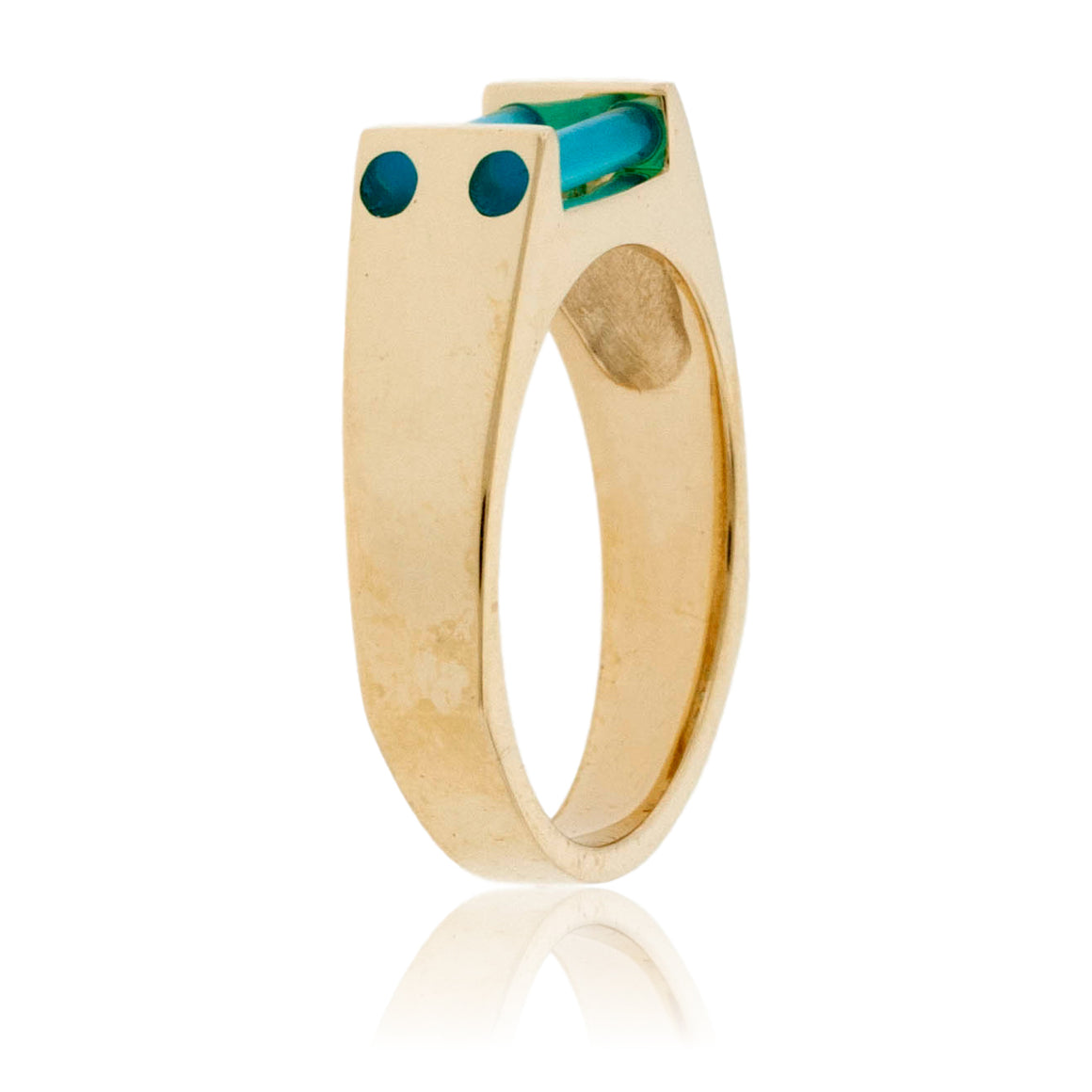 Yellow Gold Diamond and Blue Onyx Ring