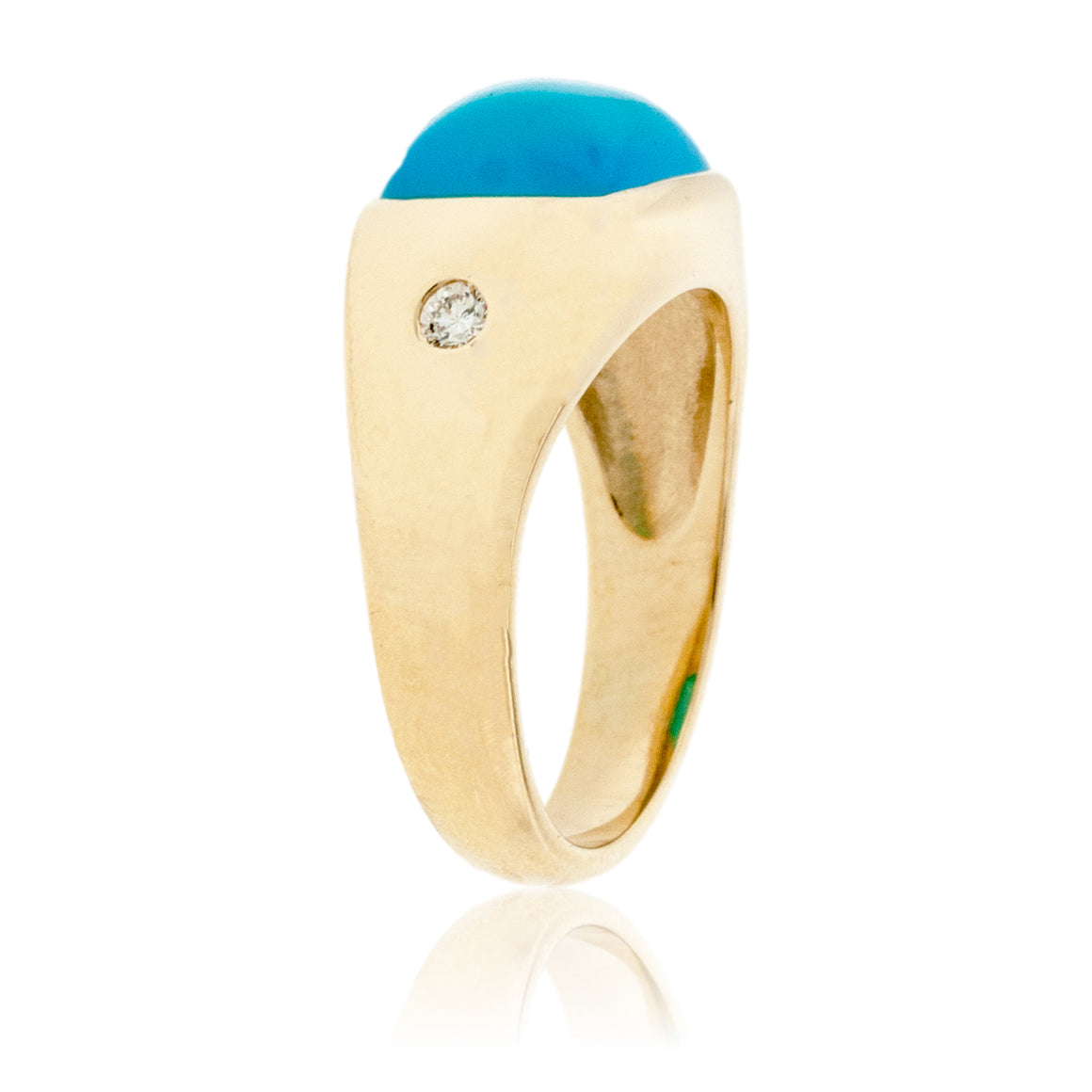 Yellow Gold Diamond and Turquoise Agate Cabochon Ring
