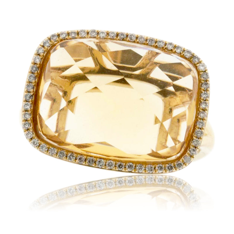 Fancy Cut Citrine and Diamond Halo Ring