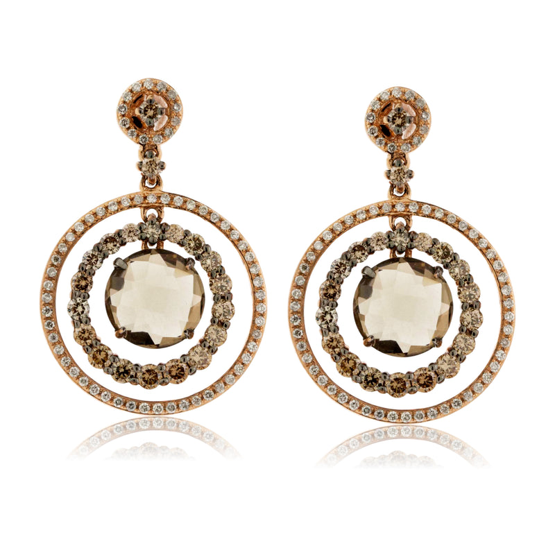 Smokey Quartz and Diamond Double Circle Halo Earrings