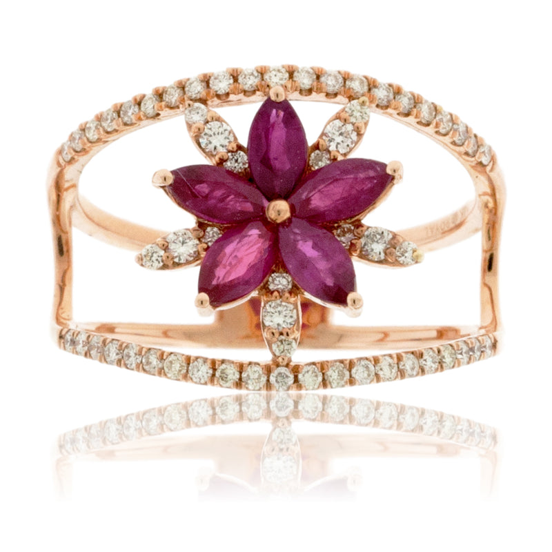 Rose Gold Ruby Flower and Diamond Ring