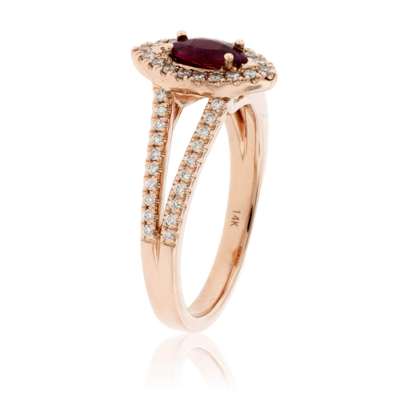 Marquise Shaped Red Emerald and Diamond Halo Style Splint Shank Ring