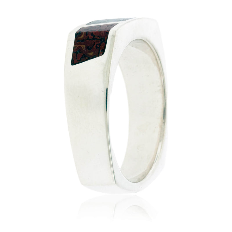 Multiple Color Dinosaur Bone Inlay Ring