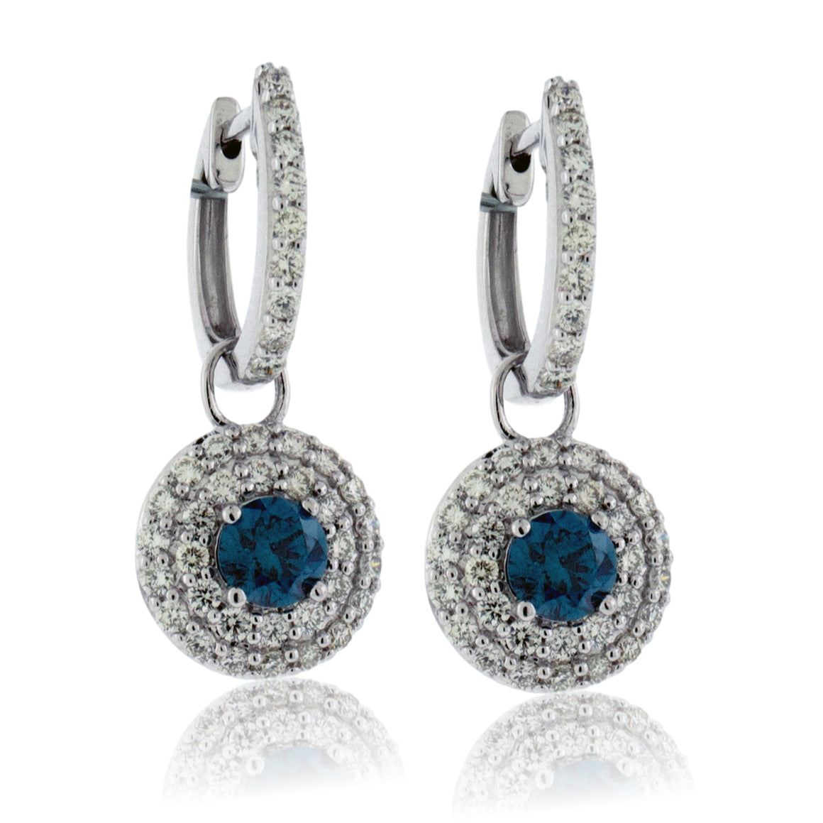 Blue Diamond Double Diamond Halo Earrings
