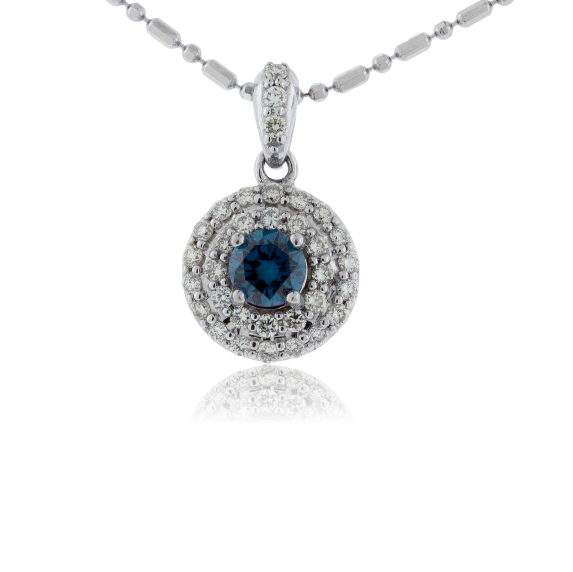 Blue Diamond and Double Diamond Halo Pendant