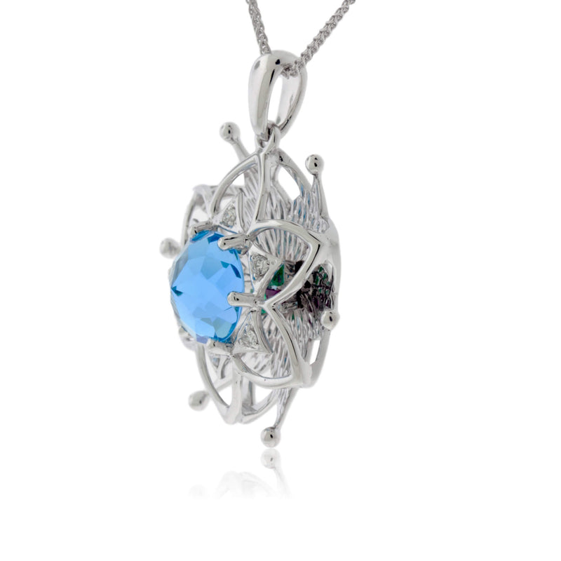 White Gold Blooming Flower Davinci Cut Pendant