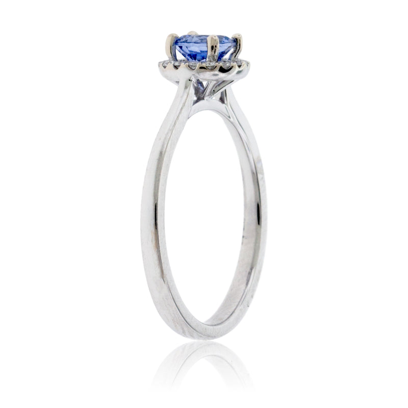 White Gold Round Sapphire Center with Diamond Halo Ring