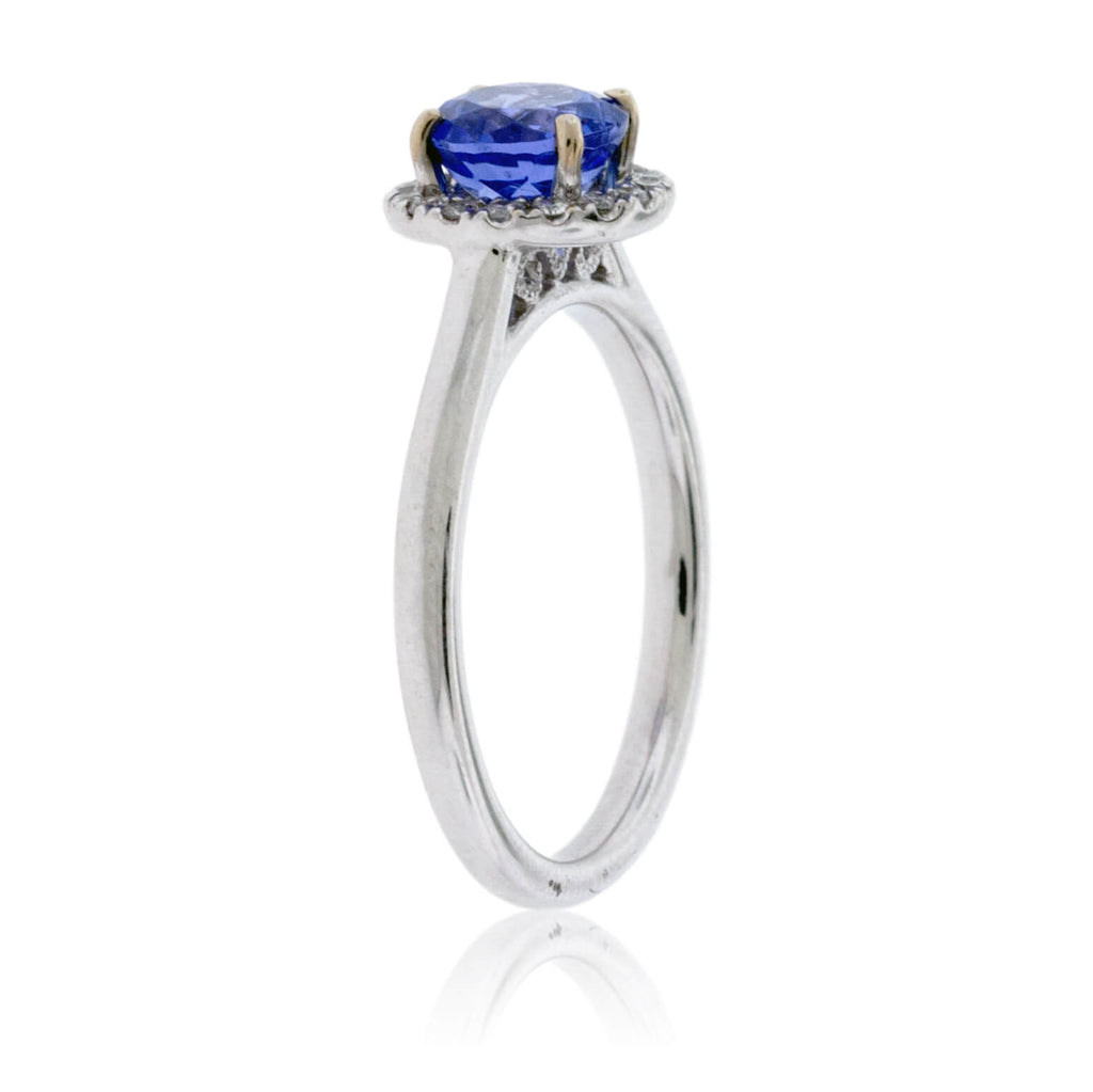 Round Tanzanite and Diamond Halo Ring