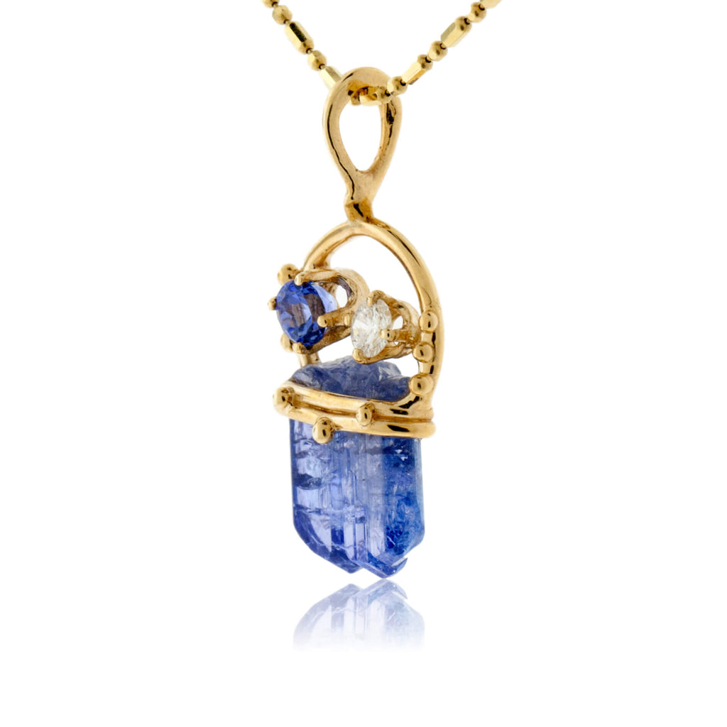 Tazanite Crystal with Tanzanite & Diamond Accent Pendant