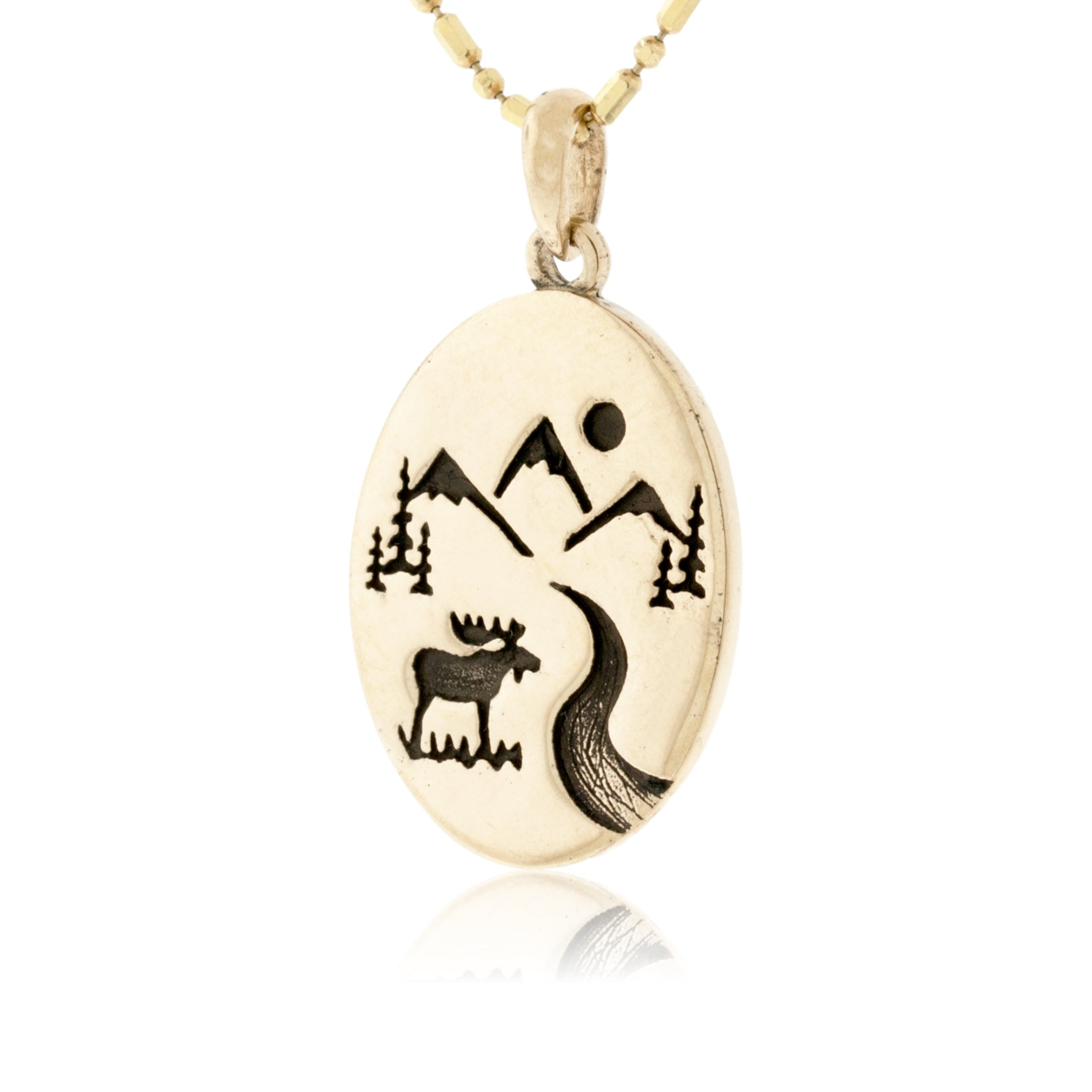 """Leather Strap Laser Engraved Necklace /""""Mountain Scene/""""  Birch Wood w// 30 in"""