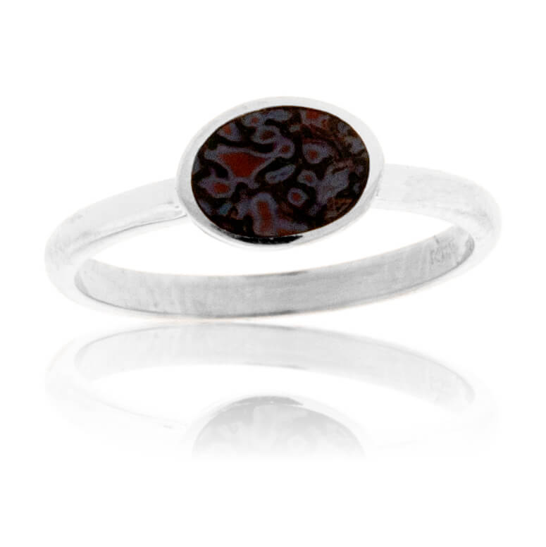 Sterling Silver Inlay Oval Stackable Ring
