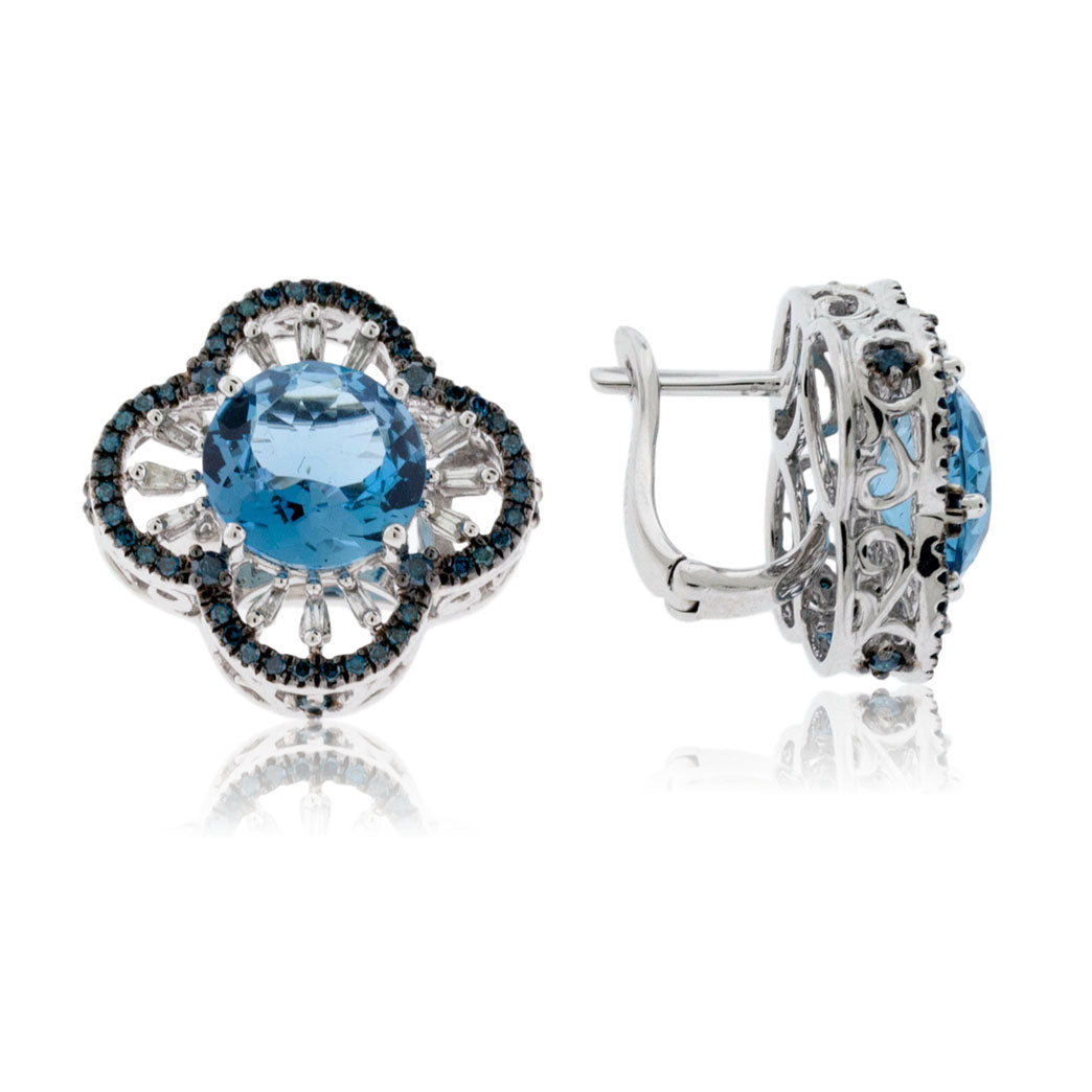 Blue Diamond, Blue Topaz and Diamond Earrings
