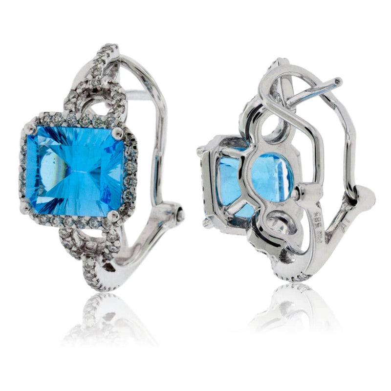 Blue Topaz & Diamond Halo Sideways Earrings