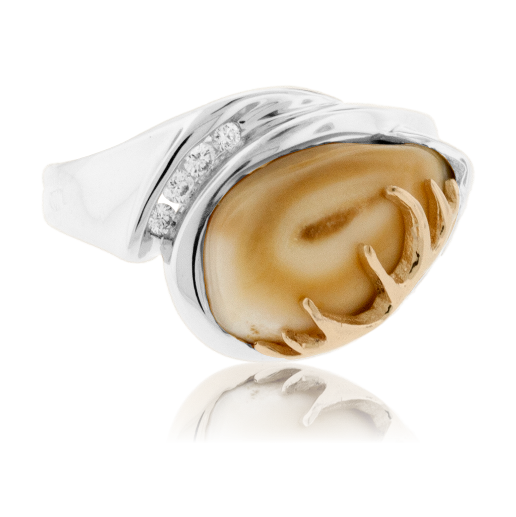 Elk Ivory Four Diamond Accented Ring