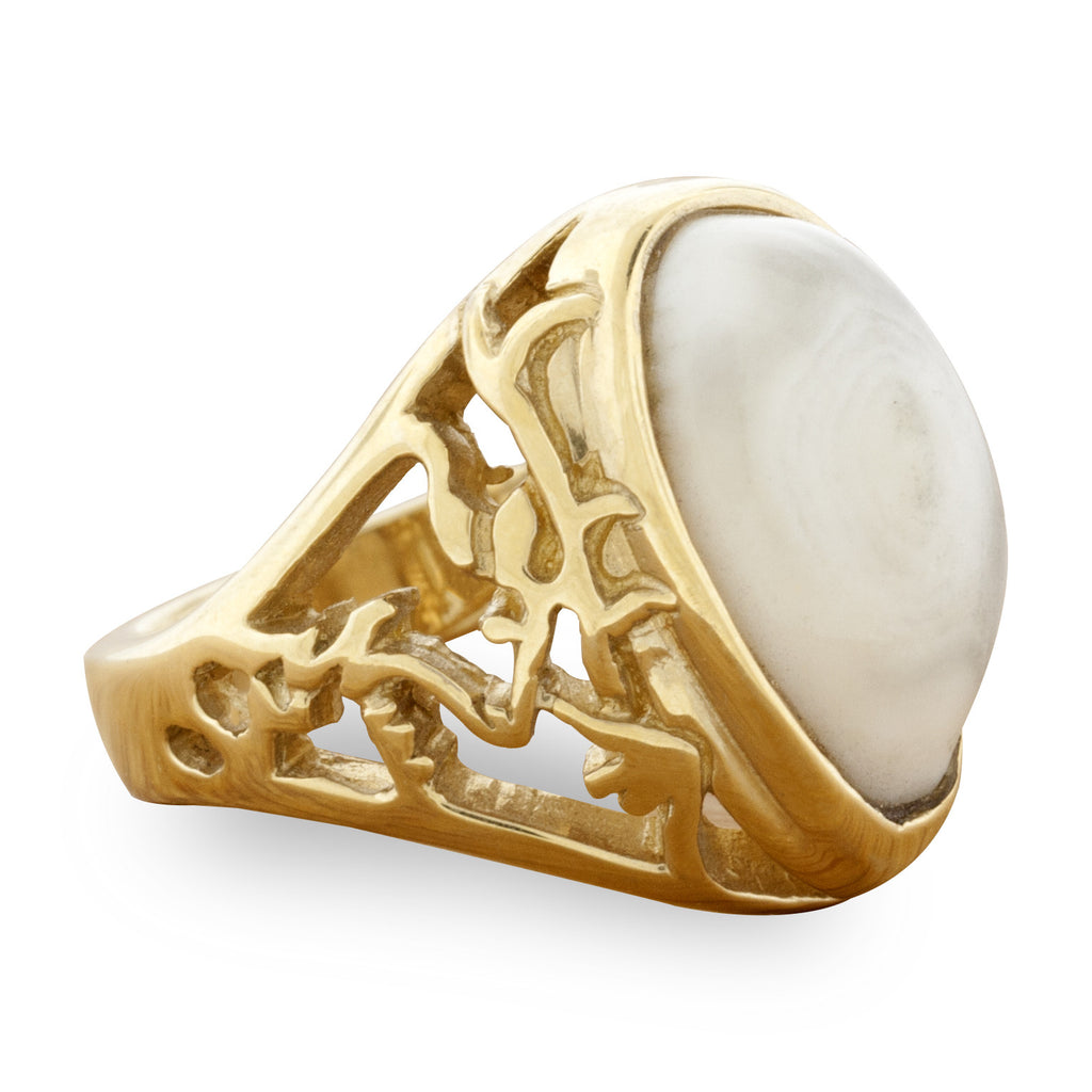 Elk Tooth Ivory Nature Scene Cutout Ring