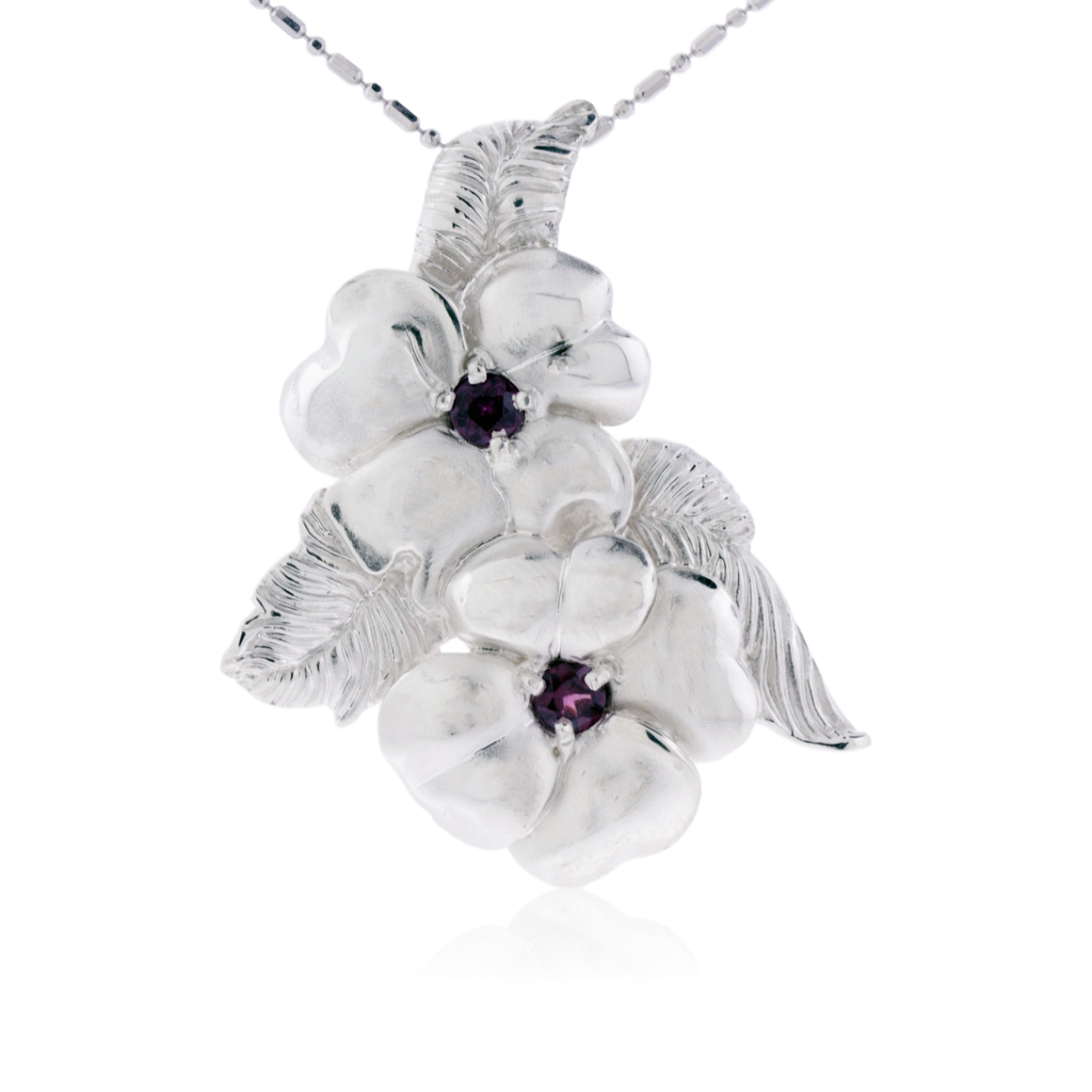 Rhodalite Garnet Flower and Leaf Pendant