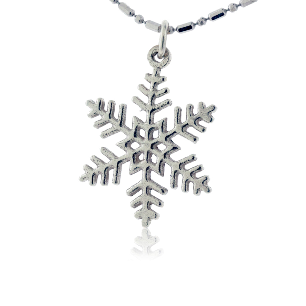 Large Filigree Flat Snowflake Charm or Necklace