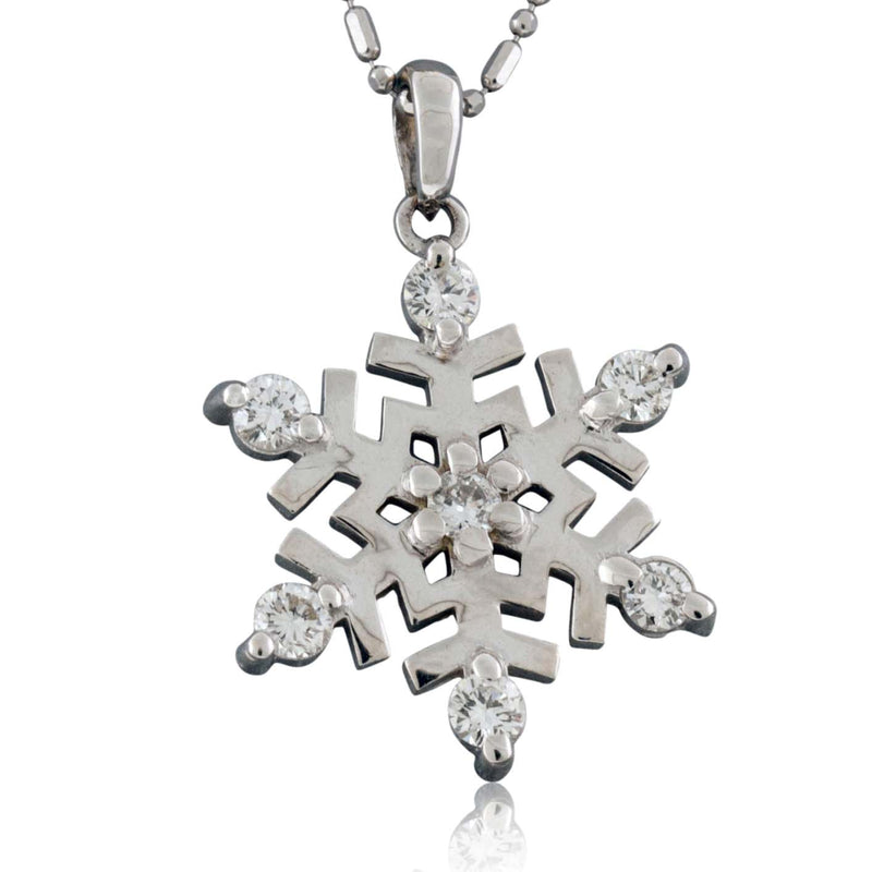 Large Diamond Tipped Snowflake Necklace