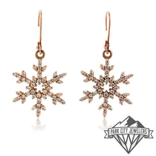 Diamond Snowflake Leverback Earrings