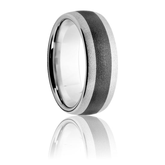 Serinium Domed Band with Black Ceramic Inlay & Stone Finish