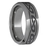 Rugged Tungsten Beveled Edge Polished Band with Knot Laser Engraving