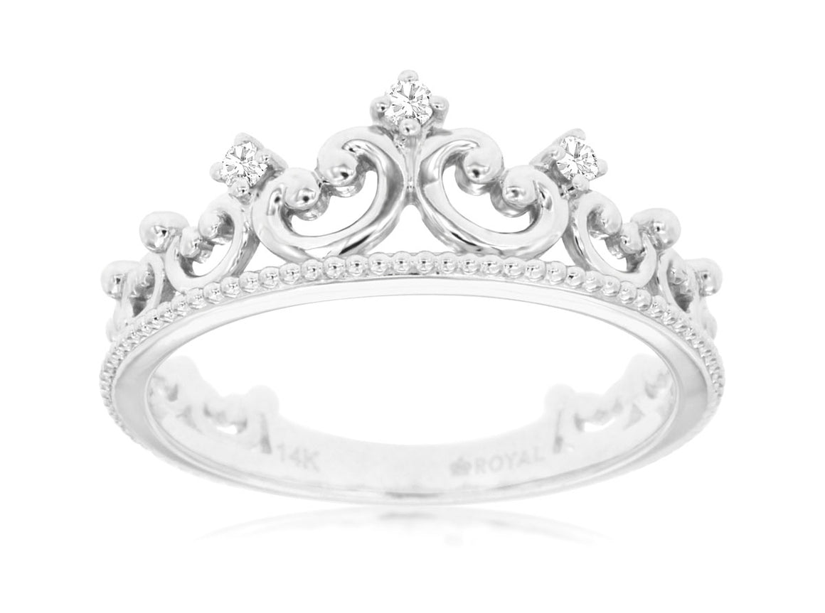 White Gold Stackable Tiara / Crown Band