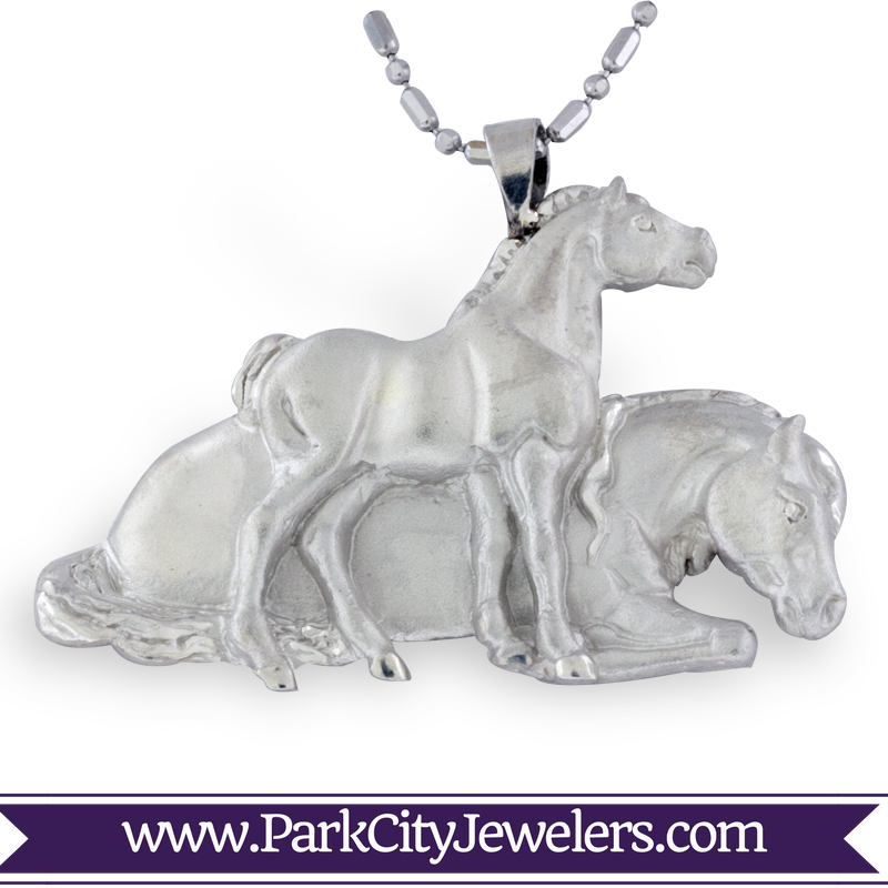 Silver Mare and Colt Necklace