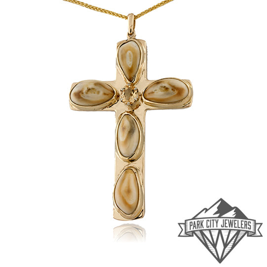Five Elk Ivory Cross Necklace