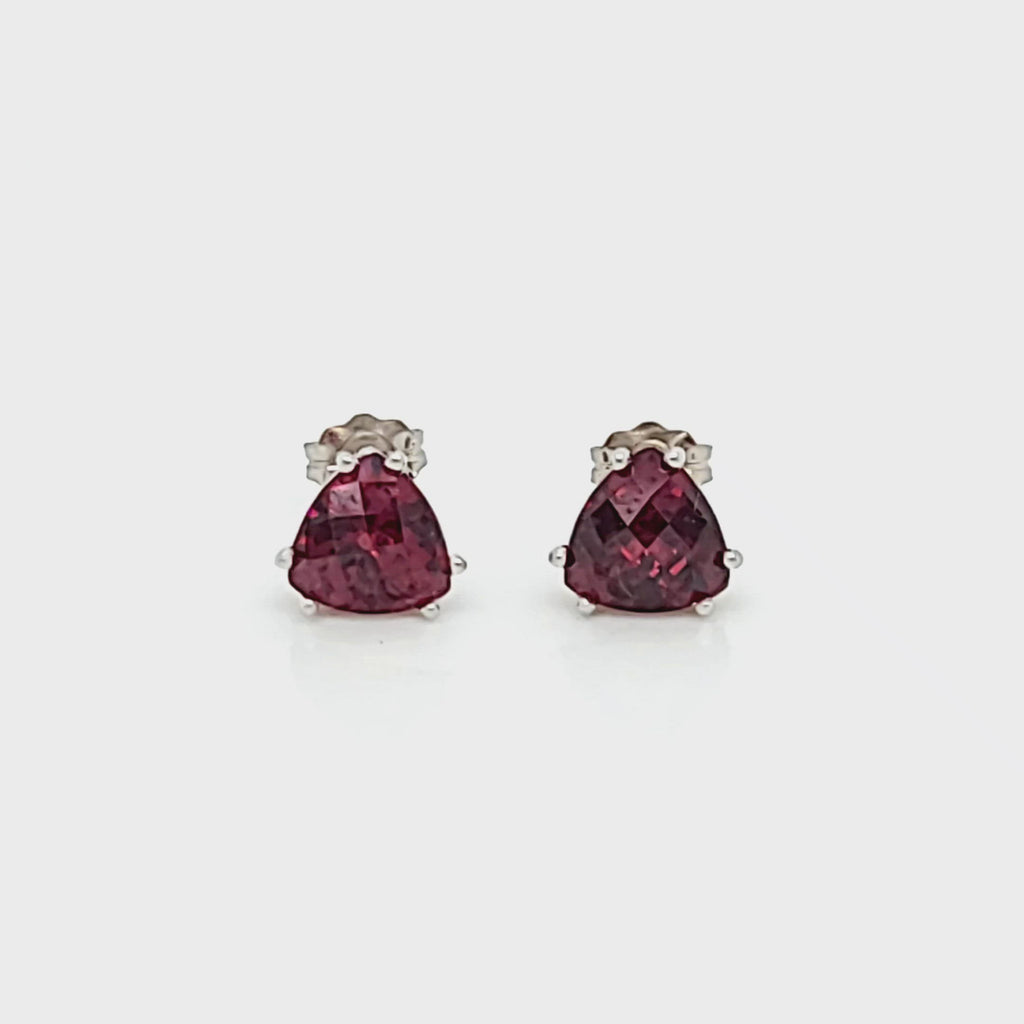 Trillion Garnet Stud Earrings