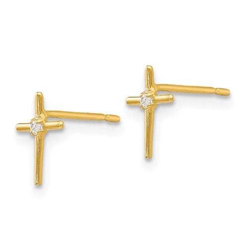 CZ Small Cross Post Stud Earrings