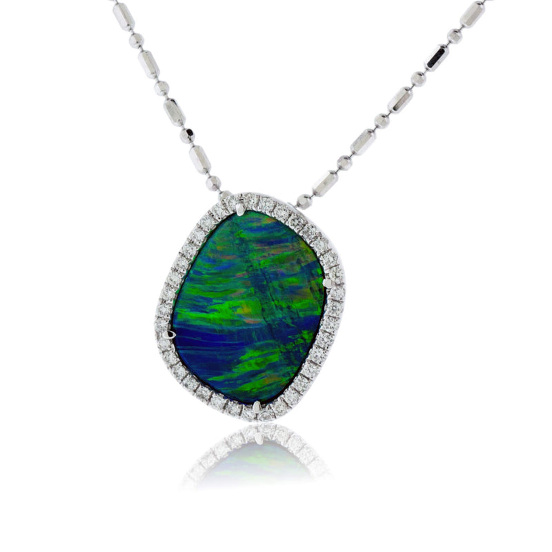Free Form Opal Doublet with Diamond Halo Pendant
