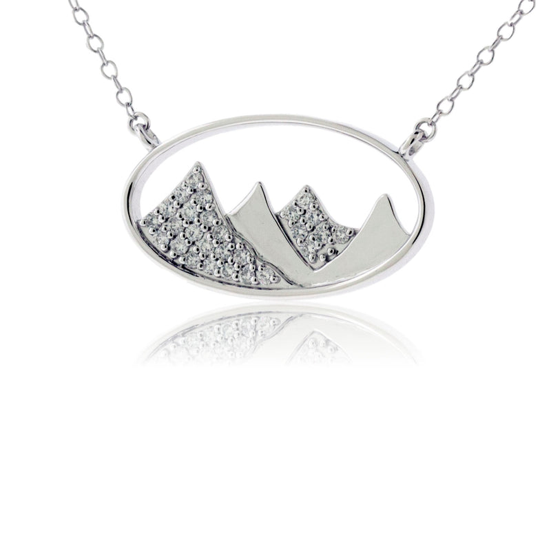 Gold Oval Outline and Diamond Mountain Silhouette Necklace