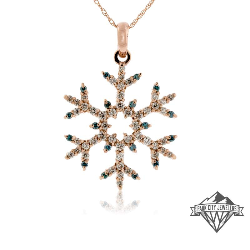 Blue Diamond Tipped Half Carat Pave Diamond Snowflake Necklace