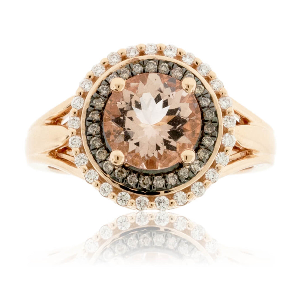 Brown Diamond and Diamond Round Morganite Ring