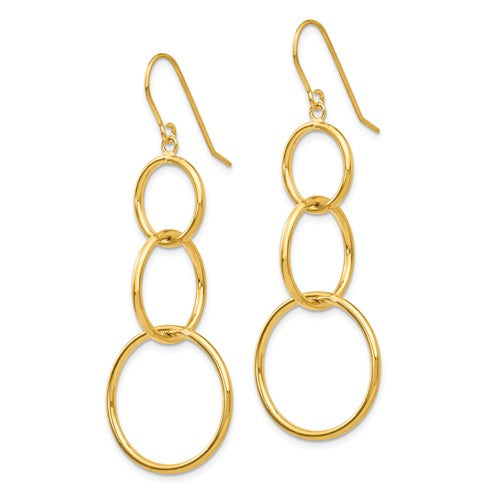 Yellow Gold Dangle Wire 3 Circle Earrings