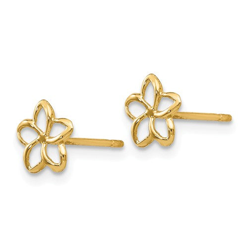 Yellow Gold Plumeria Flower Post Stud Earrings