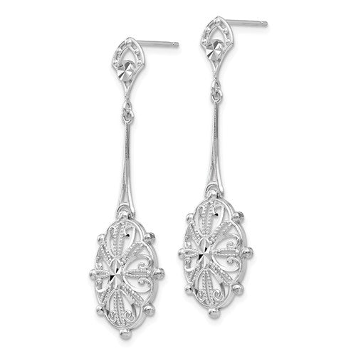 Diamond-Cut Filigree Dangle Earrings