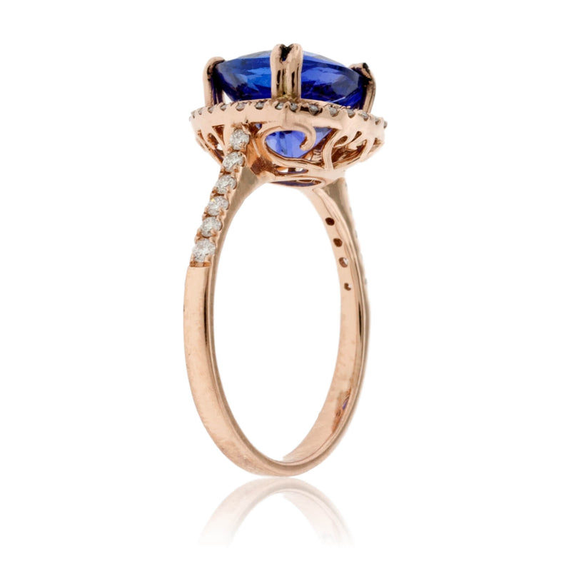 Trillian Tanzanite and Diamond Halo Ring in Rose Gold